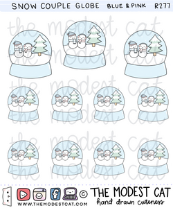 Blue & Pink Snow Couple Globe Deco Stickers (R277)