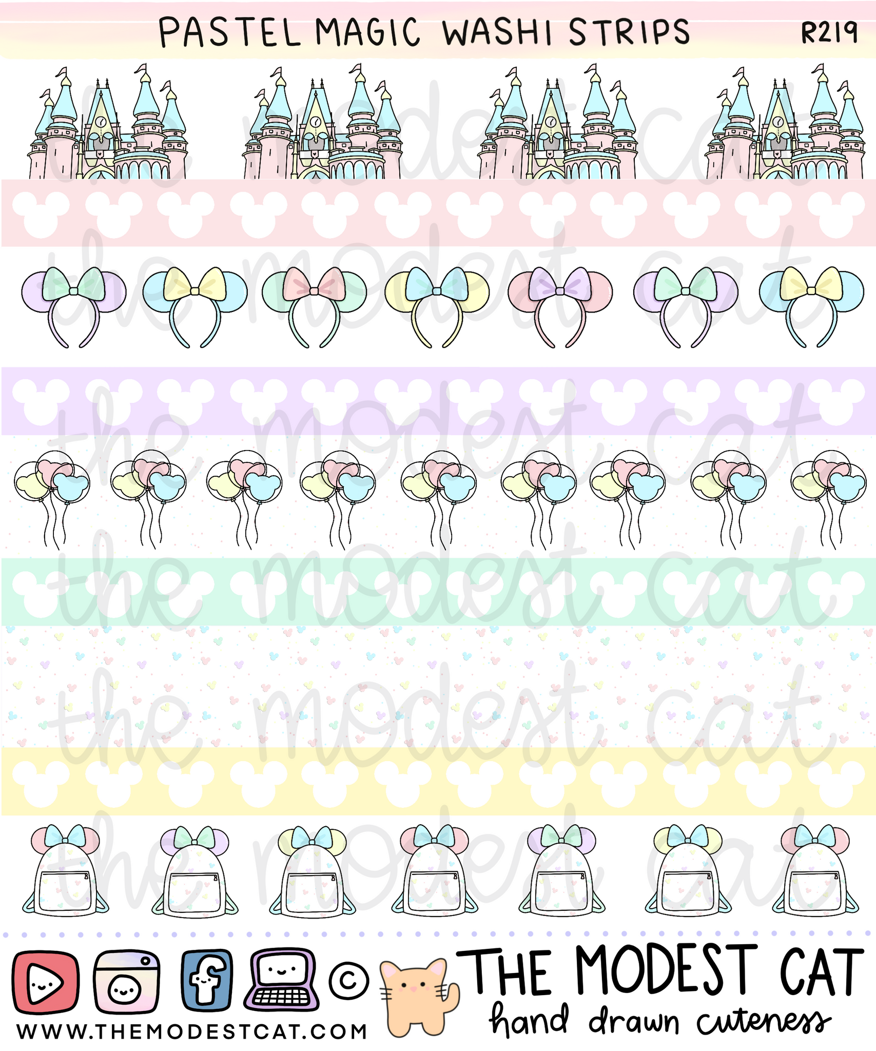 Pastel Magic Washi Strips (R219)