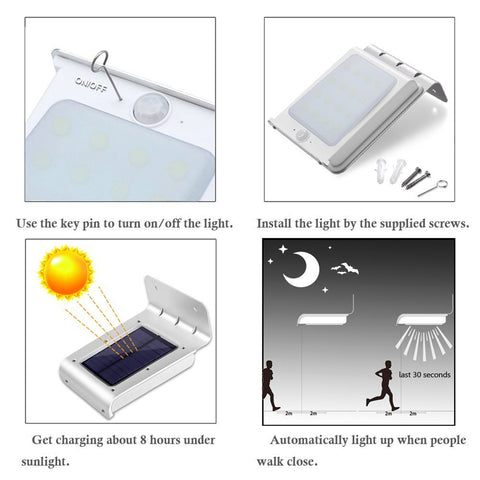 Image of Solar Powered LED Motion Sensor Security Lamp - Silver