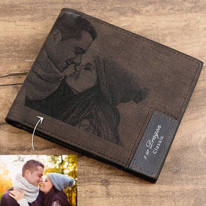 Custom Photo Engraved Leather Wallet Men's Bifold