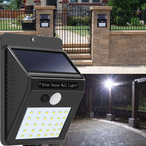 Wireless Solar Powered LED Motion Sensor Security Light Waterproof - Brown