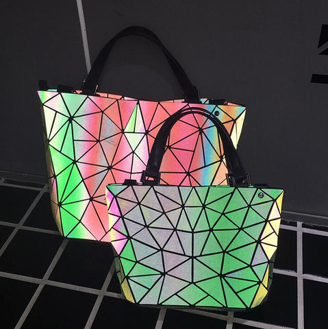 Geometric Lattice Luminous Reflective Handbags/Tote