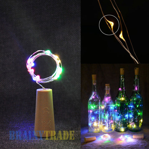 Image of Solar Wine Cork Shaped Bottle Copper Wire Light
