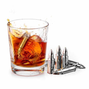 Whiskey Bullet Shaped Whiskey Stones (Ice Cube Replacement) + Tongs + Velvet Bag