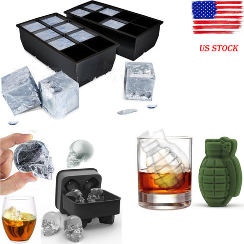 Image of 8 Big Cube/Skull /Grenade Giant Jumbo Ice Cube Square Tray Mold