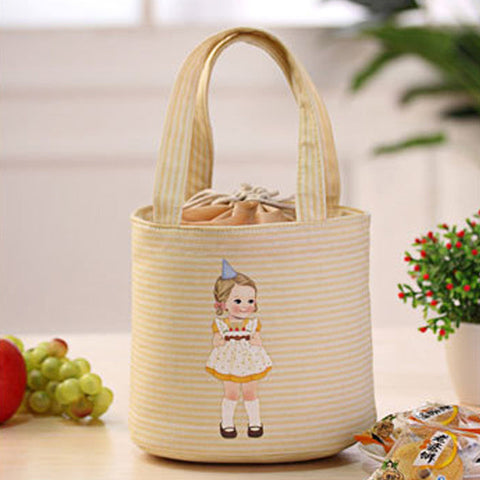 Cute Girls Drawstring Thermal Insulated Lunch Bag
