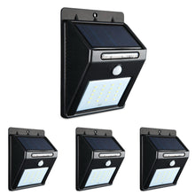 Load image into Gallery viewer, 4X 20 LED Solar Powered Wall Motion Sensor Light Outdoor Garden Security Lamp