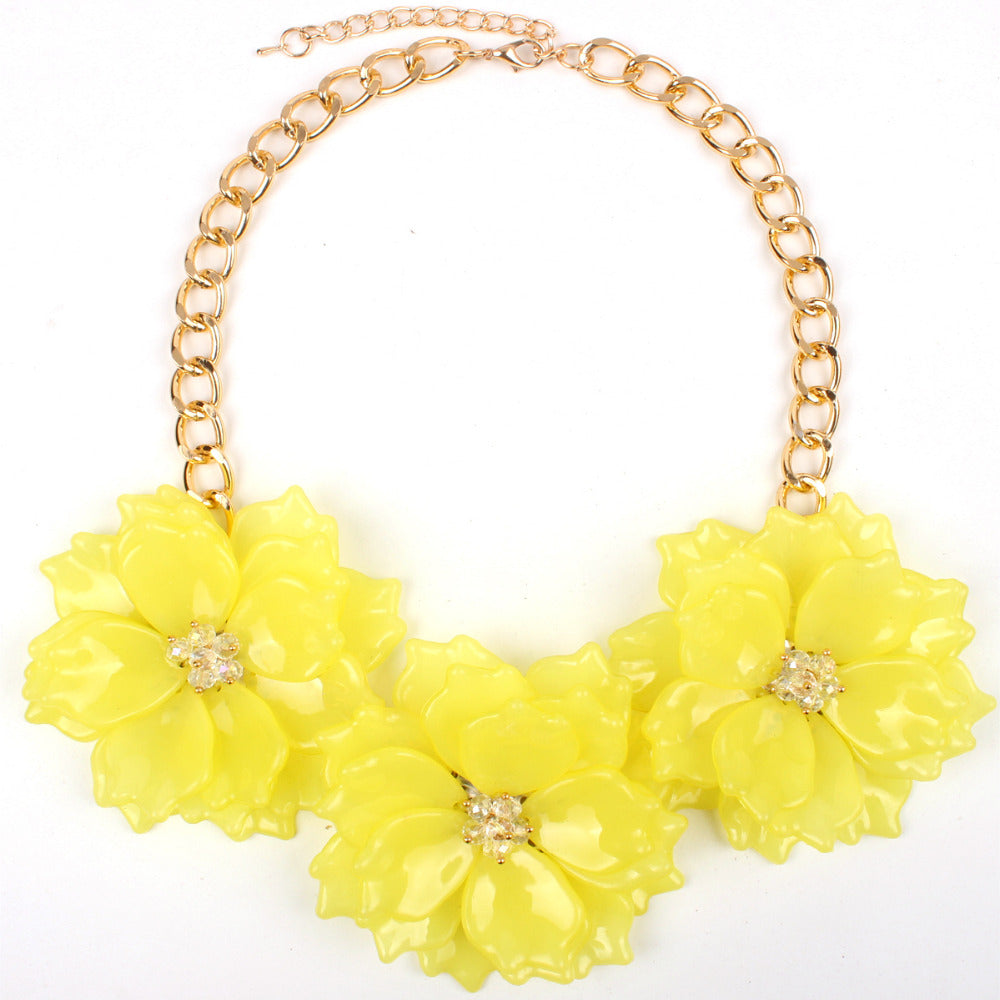 Big Flower Necklace Acrylic Three Flowers Chain Colorful Short