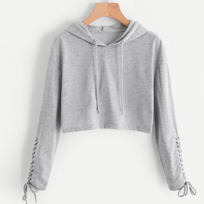 Braided Sleeve Cropped Sweatshirt