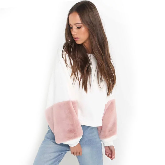 Bell Sleeved Fur Sweater