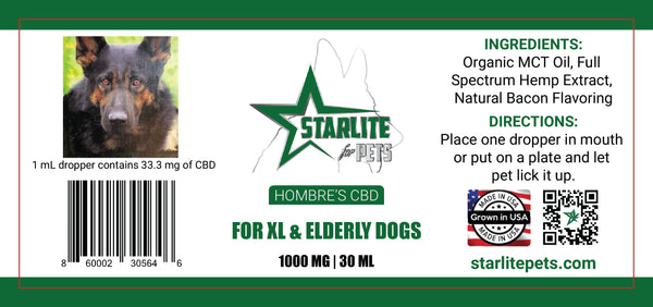 Hombre's Tincture (XL & Elderly Dogs) - 1000 mg