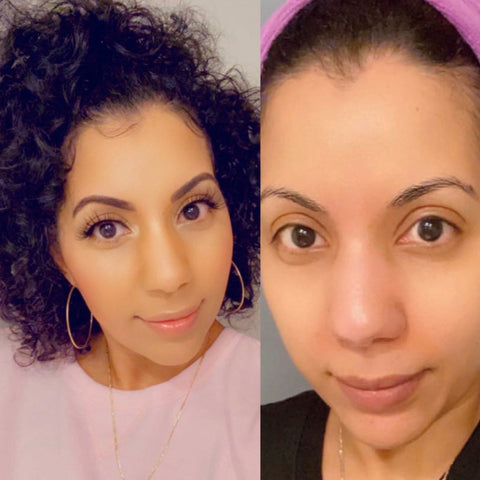 beautiful before and after with false lashes from Bahf Beauty