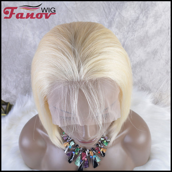 Fanov Wig Colorful Wigs Human Hair 13×6 Lace Front Bob Wigs Blonde Color - Fanov Wigs