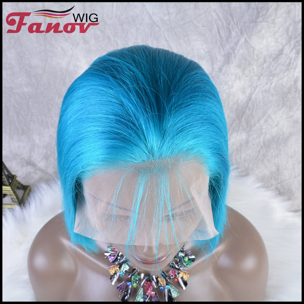 Fanov Wig Colorful Wigs Human Hair 13×6 Lace Front Bob Wigs Blue Color - Fanov Wigs
