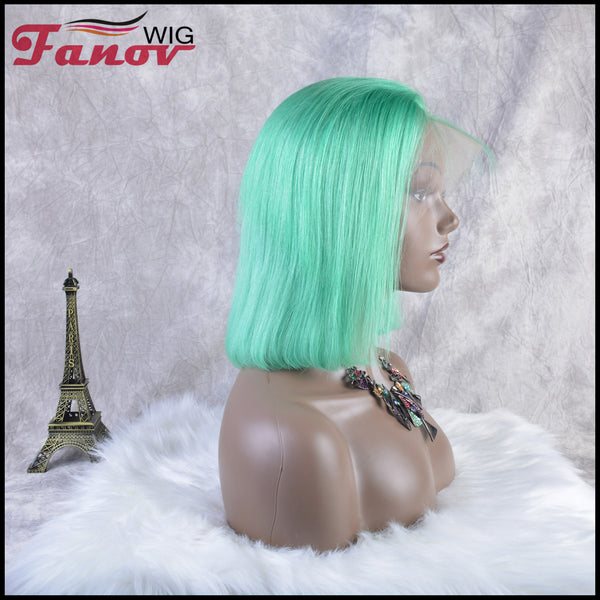 Fanov Wig Colorful Wigs Human Hair 13×6 Lace Front Bob Wigs Mint Green Color - Fanov Wigs
