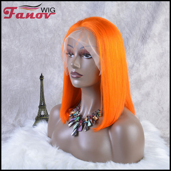 Fanov Wig Colorful Wigs Human Hair 13×6 Lace Front Bob Wigs Orange Color - Fanov Wigs