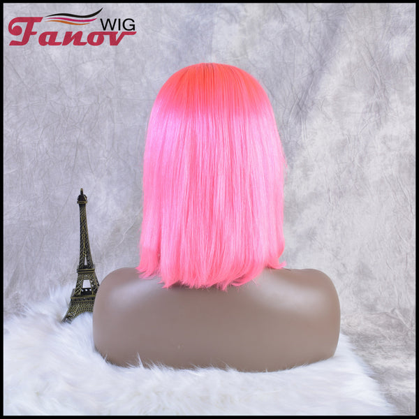 Fanov Wig Colorful Wigs Human Hair 13×6 Lace Front Bob Wigs Pink Color - Fanov Wigs