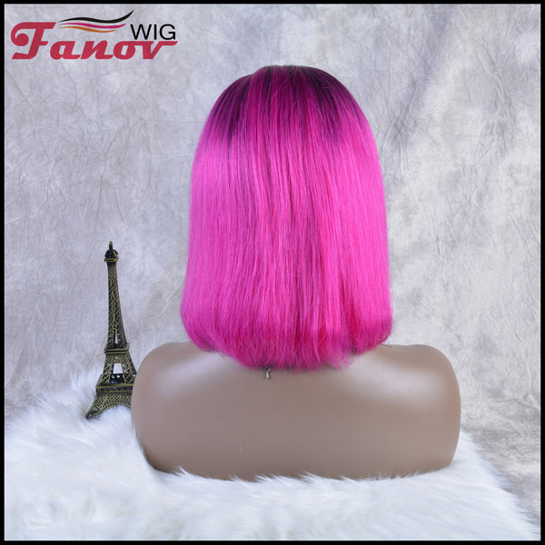 Fanov Wig Pre Plucked Straight Short Colorful Wigs Bob Rose Red Color Dark Roots Human Hair 13×6 Lace Front Wigs - Fanov Wigs