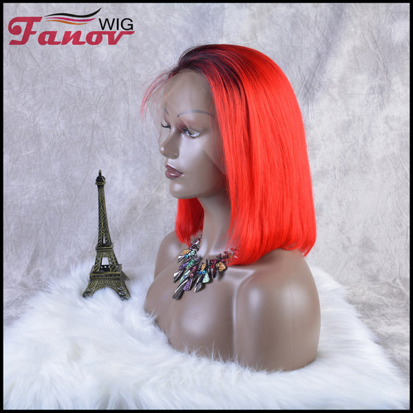 Fanov Wig Pre Plucked Straight Short Colorful Wigs Bob Red Color Dark Roots Human Hair 13×6 Lace Front Wigs - Fanov Wigs