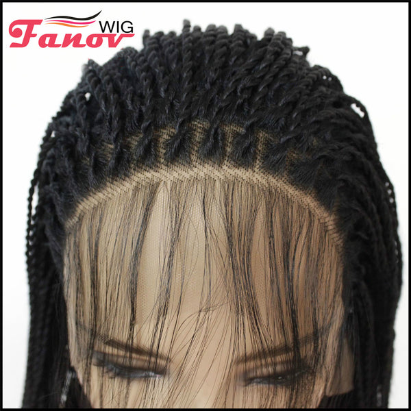 Fanov Wig Cornrow Synthetic Hair Box Braided Wig 13x4 Lace Parting Swiss Lace Wig Black 1B -Diana - Fanov Wigs