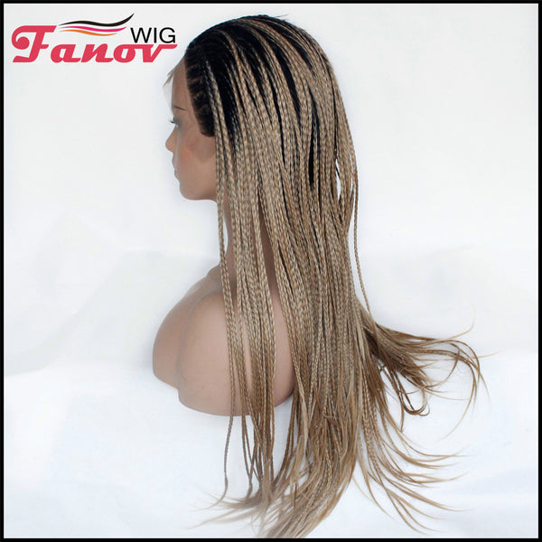Fanov Wig Cornrow Synthetic Hair Box Braided Wig 13x4 Lace Parting Swiss Lace Wig -ANGEL - Fanov Wigs