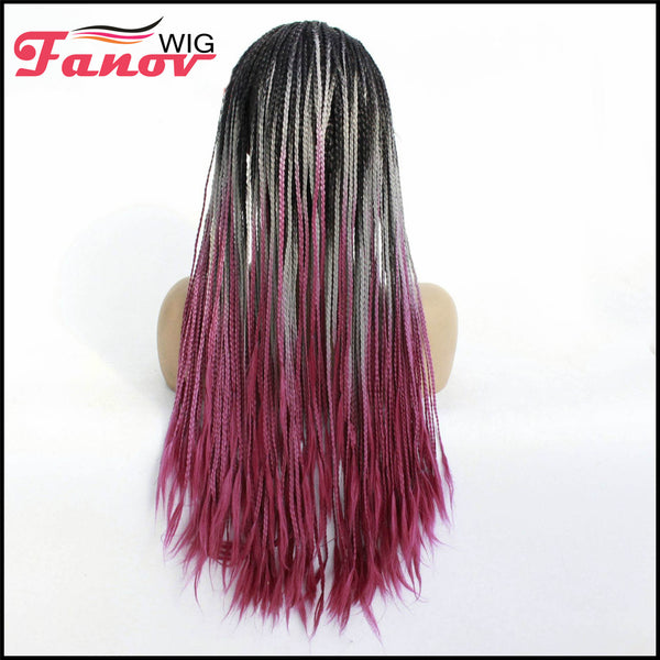 Fanov Wig Purple Cornrow Synthetic Hair Box Braided Wig 13x4 Lace Parting Swiss Lace Wig -Jenny - Fanov Wigs