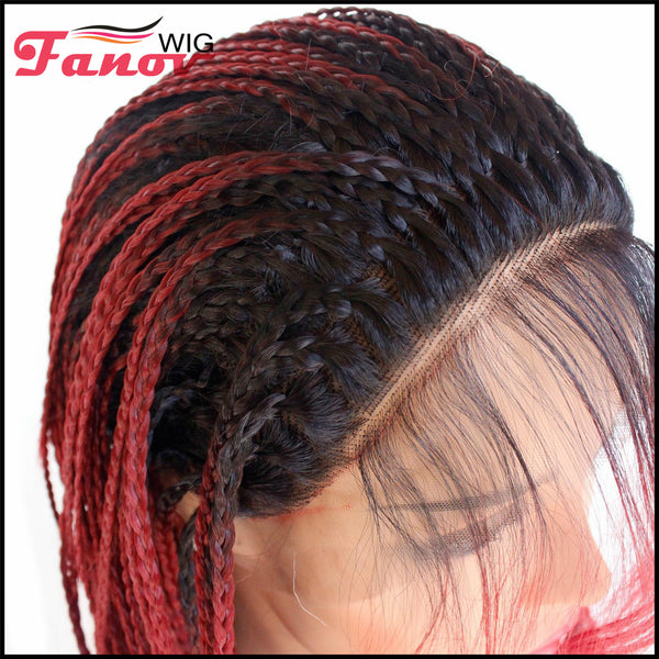 Fanov Wig Cornrow Synthetic Hair Box Braided Wig 13x4 Lace Parting Swiss Lace Wig Red Color -Eden - Fanov Wigs