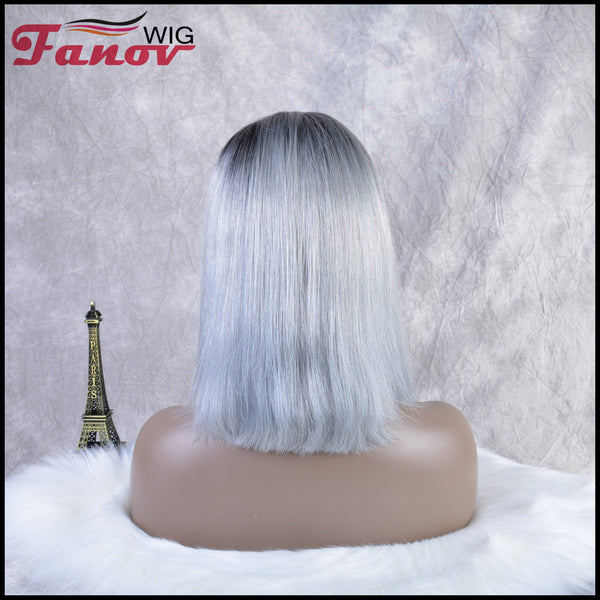 Fanov Wig Pre Plucked Straight Short Colorful Wigs Bob Gray Color Dark Roots Human Hair 13×6 Lace Front Wigs - Fanov Wigs