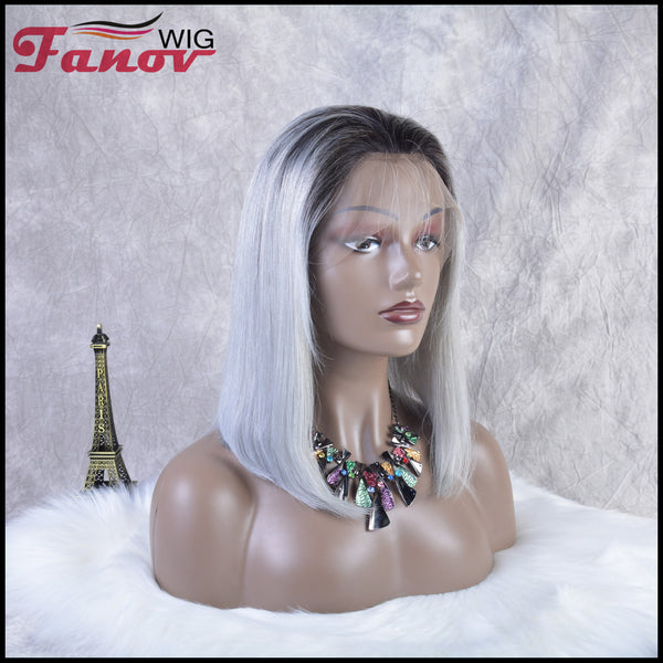 Fanov Wig Pre Plucked Straight Short Colorful Wigs Bob Human Hair Full Lace Wigs - Fanov Wigs