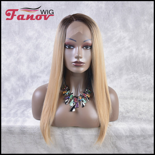Fanov Wig Ash Blonde Dark Roots Hair Synthetic Hair T-part Lace Front Wig 22Inch -Kitty - Fanov Wigs