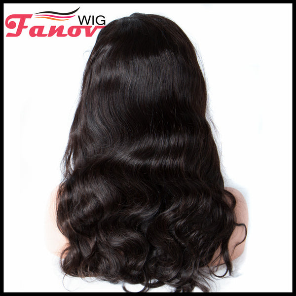 Fanov Wig Body Wave Remy Hair 4×4 Lace Front Human Hair Wigs For Women Natural Black - Fanov Wigs