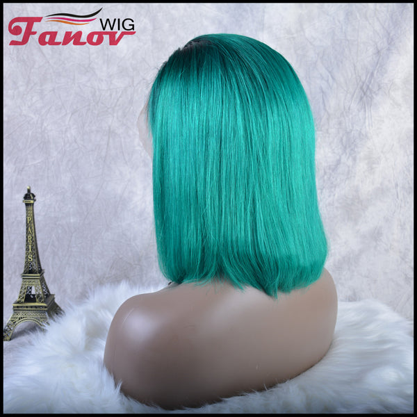 Fanov Wig Pre Plucked Straight Short Colorful Wigs Bob Green Color Dark Roots Human Hair 13×6 Lace Front Wigs - Fanov Wigs