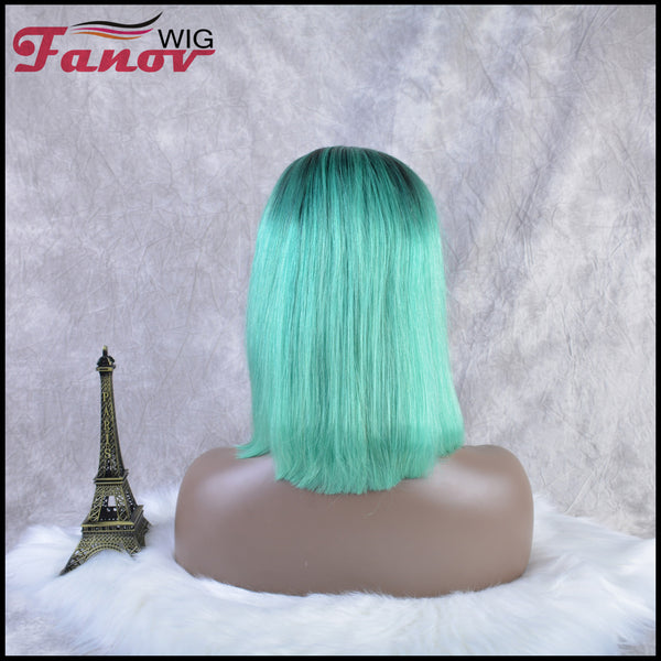 Fanov Wig Pre Plucked Straight Short Colorful Wigs Bob Mint Green Color Dark Roots Human Hair 13×6 Lace Front Wigs - Fanov Wigs