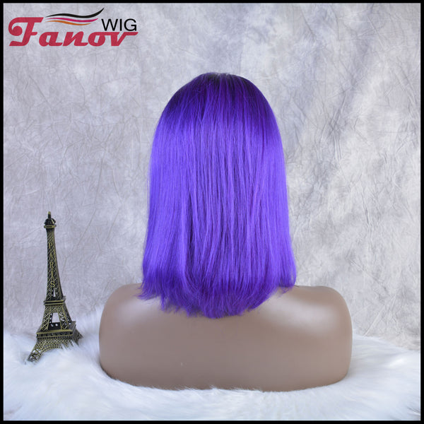 Fanov Wig Pre Plucked Straight Short Colorful Wigs Bob Purple Color Dark Roots Human Hair 13×6 Lace Front Wigs - Fanov Wigs