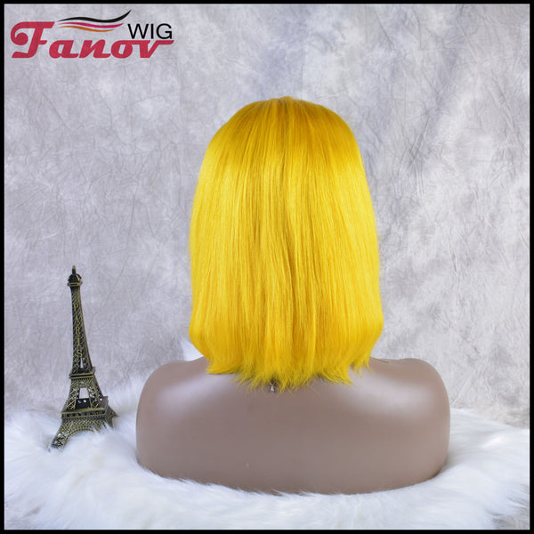 Fanov Wig Colorful Wigs Human Hair 13×6 Lace Front Bob Wigs Yellow Color - Fanov Wigs