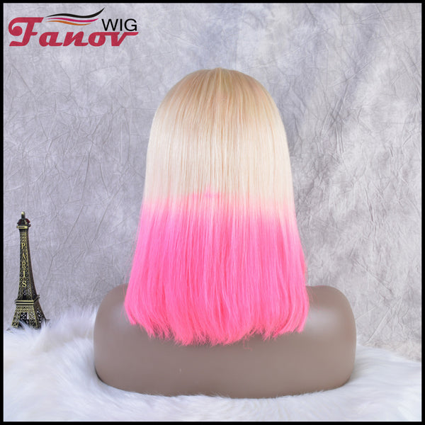Fanov Wig Pre Plucked Straight Short Colorful Wigs Bob Pink Color Blonde Roots Human Hair 13×6 Lace Front Wigs - Fanov Wigs