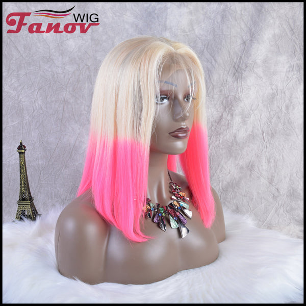 Fanov Wig Pre Plucked Straight Short Colorful Wigs Bob Human Hair13*6 Lace Front Wigs - Fanov Wigs