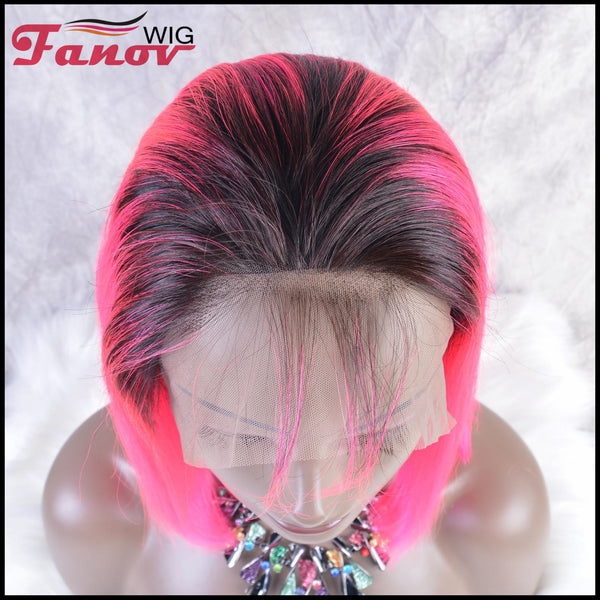 Fanov Wig Pre Plucked Straight Short Colorful Wigs Bob Pink Color Dark Roots Human Hair 13×6 Lace Front Wigs - Fanov Wigs
