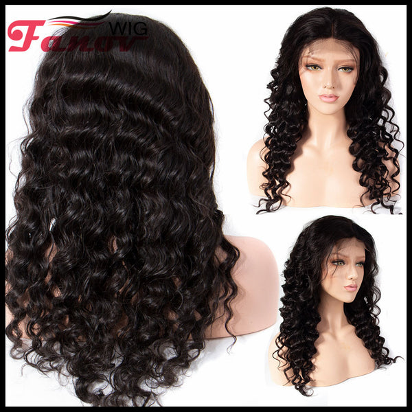 Fanov Wig Loose Deep Wave Remy Hair 4×4 Lace Front Human Hair Wigs For Women Natural Black - Fanov Wigs