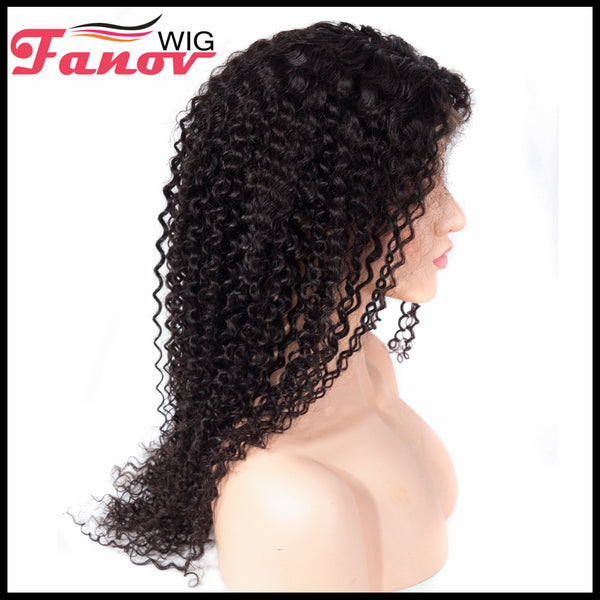 Fanov Wig Kinky Curly Remy Hair 4×4 Lace Front Human Hair Wigs For Women Natural Black - Fanov Wigs
