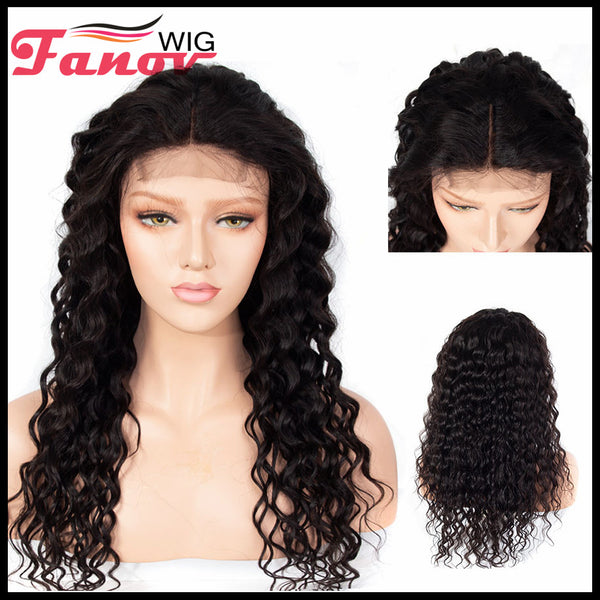 Fanov Wig Water Wave Remy Hair 4×4 Lace Front Human Hair Wigs For Women Natural Black - Fanov Wigs