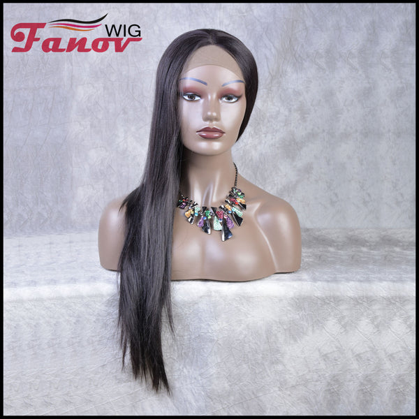 Fanov Wig Black Long Straight Center Part Synthetic Lace Front Wig 24 inche -Sasha - Fanov Wigs