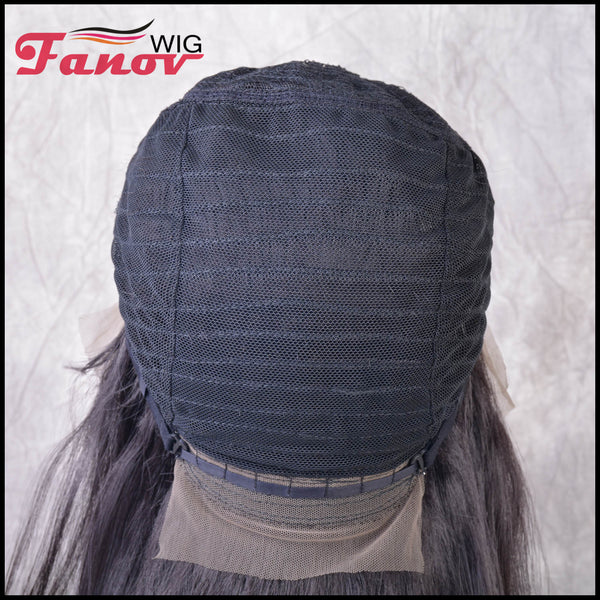 Fanov Wig Black Bob Straight Hair Synthetic Hair T-part Lace Front Wig 16Inch -Lanessa - Fanov Wigs
