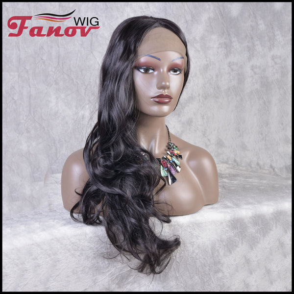 Fanov Wig Black Body Wave Center Part Synthetic Lace Front Wig 24 inches -Melody - Fanov Wigs
