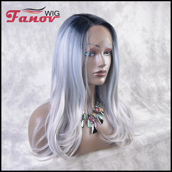 Fanov Wig Grey Dark Roots Hair Synthetic Hair T-part Lace Front Wig 22Inch - Venus - Fanov Wigs