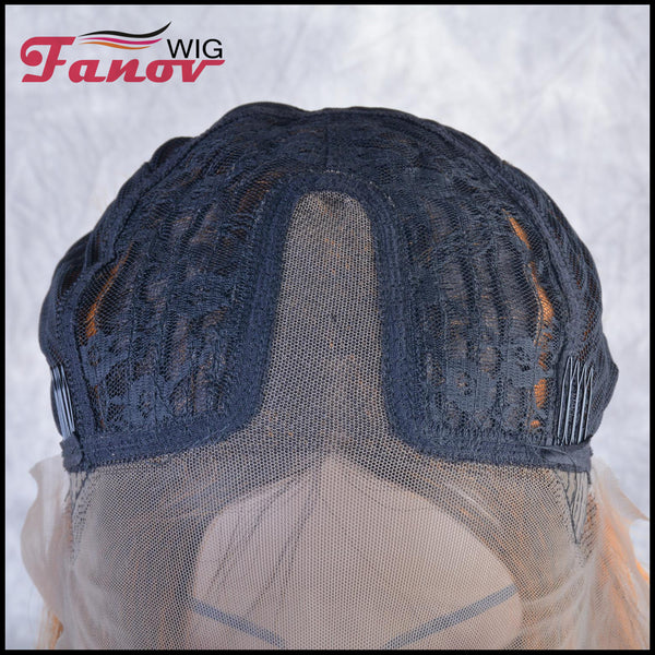 Fanov Wig Orange Color Dark Roots Short Straight Bob T-Part Synthetic Hair Lace Wig 16 Inch - Kasandra - Fanov Wigs