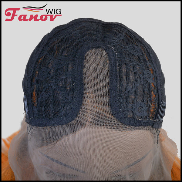 FanovWig Orange Color Dark Roots Short Bob T-Part Synthetic Hair Lace Wig 16 Inch -Jet - Fanov Wigs