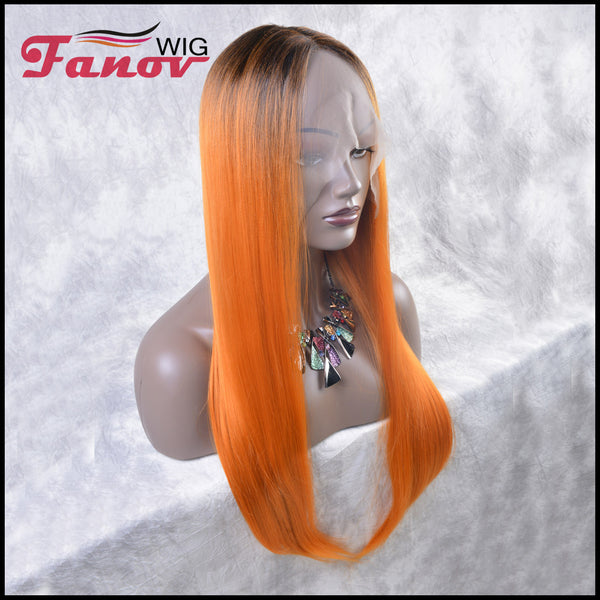 Fanov Wig Orange Color Dark Roots Straight Hair Synthetic Hair T-part Lace Front Wig 24Inch -Amani - Fanov Wigs