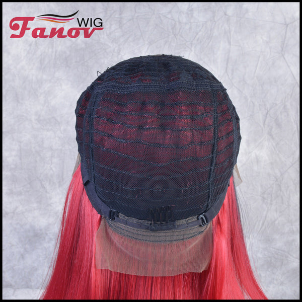 Fanov Wig Red Color Dark Roots Bob Straight Hair Synthetic Hair T-part Lace Front Wig 16Inch - Solana - Fanov Wigs