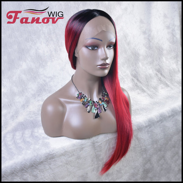 Fanov Wig Red Color Dark Roots Straight Hair Synthetic Hair T-part Lace Front Wig 24Inch-Jade - Fanov Wigs